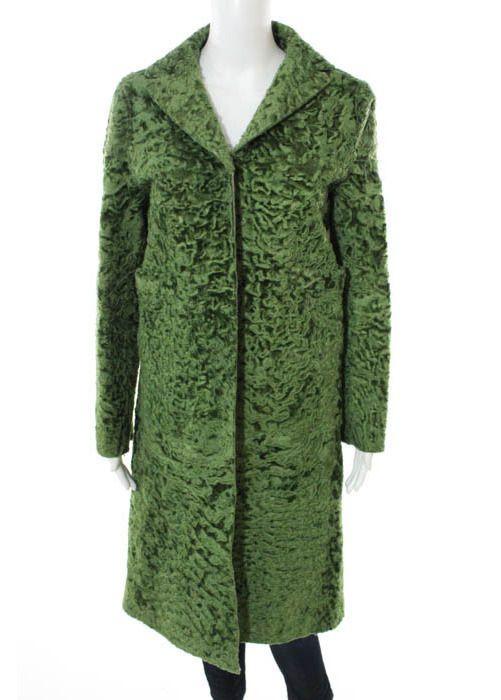 MARNI Green Swakara Leather Long Sleeve V Neck Collared Coat Sz 38 #MARNI #Swakara