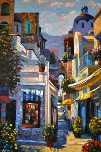 "Original Painting ""Passageway in Capri, France 1996"" by Howard Behrens"