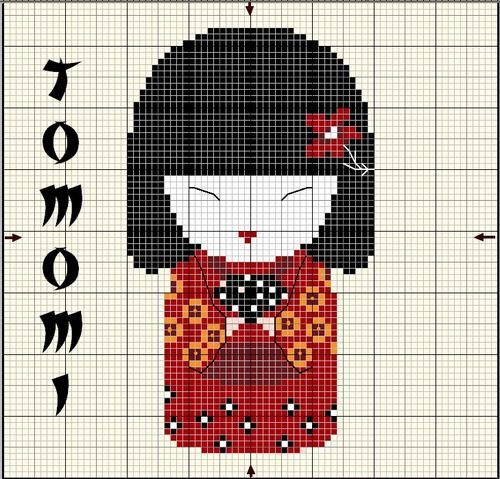 Kokeshi doll cross stitch