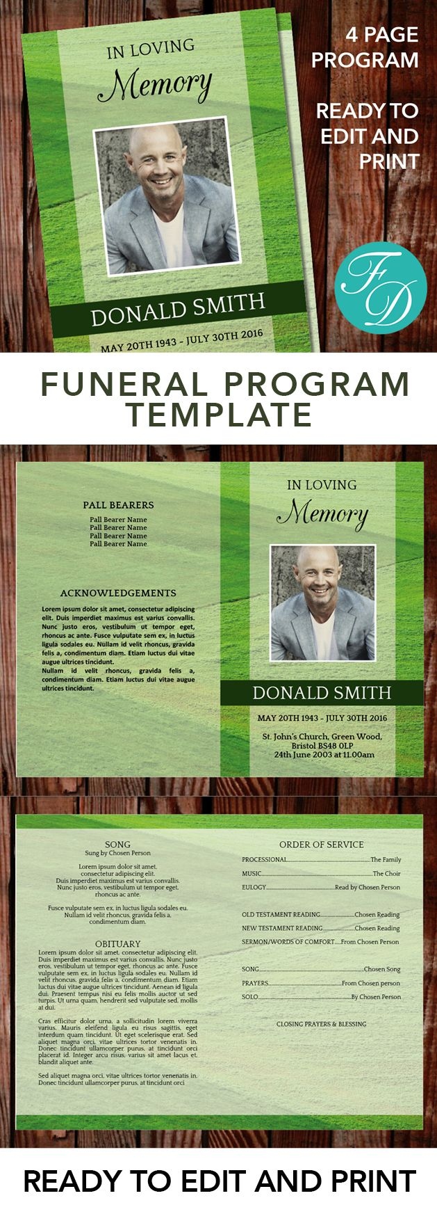 Green Printable Funeral program ready to edit & print. Simply purchase your funeral templates, download, edit with Microsoft Word and print. #obituarytemplate #memorialprogram #funeralprograms #funeraltemplate #printableprogram #celebrationoflife