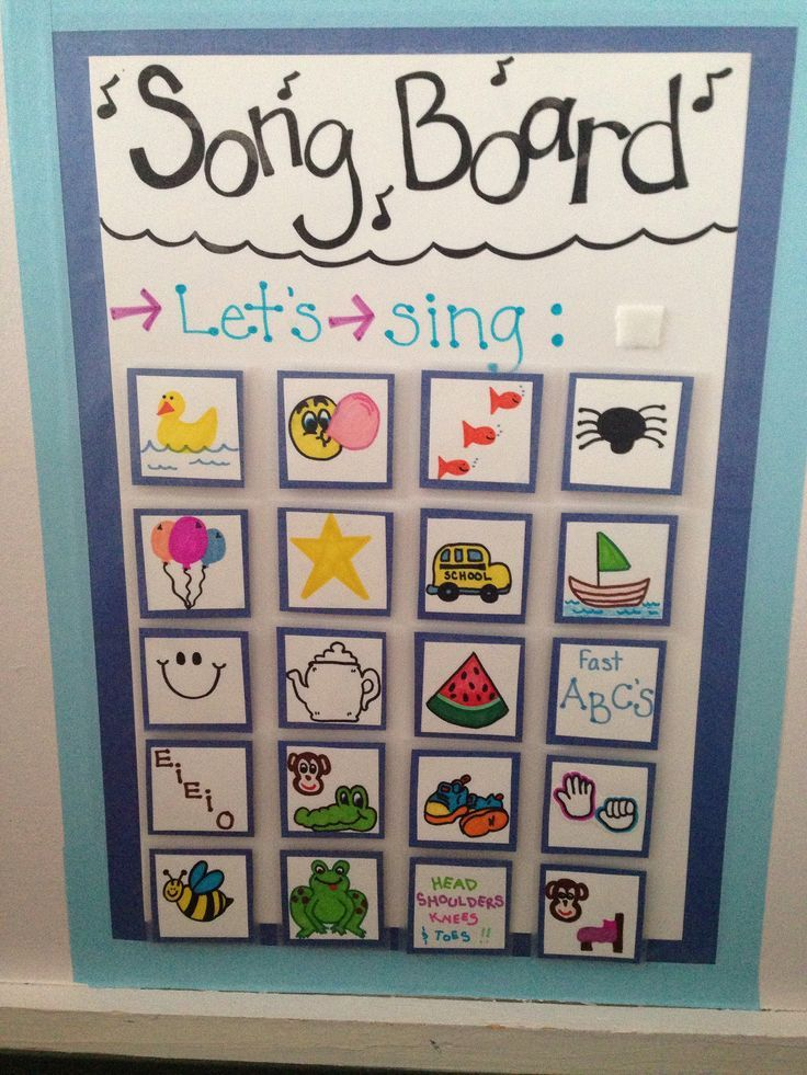 """Circle time song choice board! Children go up and remove the song they want and Velcro it to the """"let's sing"""" spot!"""