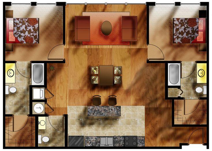 1000 images about rendered plans on pinterest design for Rendered floor plan