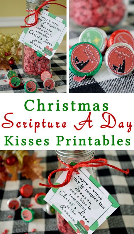 Christmas Scripture A Day Kisses Advent Printables-A fun little gift and great way to remember the season!