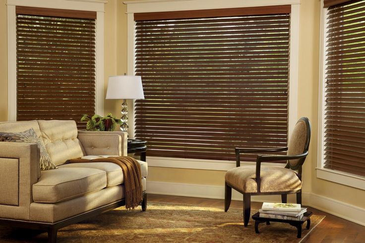 Living room window blind ideas run the expanse of styles from traditional to modern, casual, and rustic or vintage, and our living room wooden blinds are gorgeous and durable and guaranteed for life by Hunter Douglas.