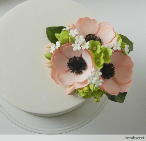 Peach anemones, hydrangea, filler flowers, buds and leaves...by Petalsweet.
