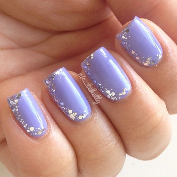 Gorgeous Lavender Nails With Glitter ღ