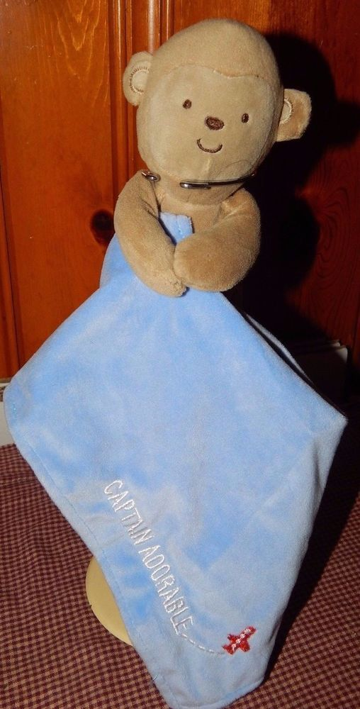 Carters Child Of Mine CAPTAIN ADORABLE Monkey Rattle Baby Security Blanket Blue #Carters
