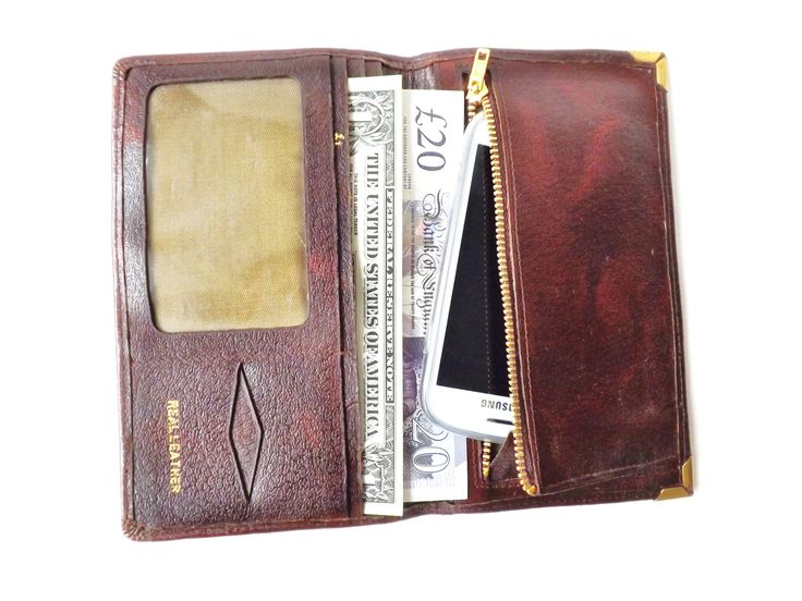 Vintage Leather Wallet, Cell Phone Case, Mens Accessories, Bill Fold, Vintage Pocket Organizer, Male Gift, British Money Holder, Cell Wallet by CuriosAnCollectibles on Etsy