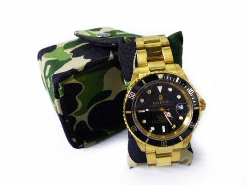 Authentic A Bathing Ape bape Watch Bapex from Japan Black Gold RARE | eBay