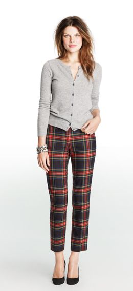 J.Crew Factory tartan skimmers + hair color
