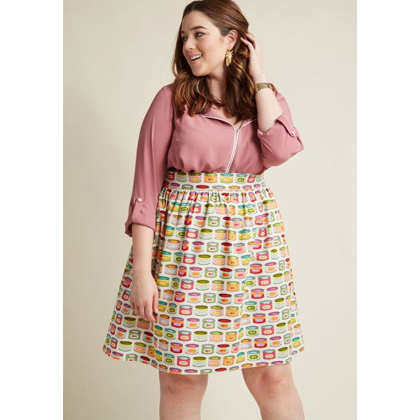 Retrolicious Lively Vibe Cotton A-Line Skirt in Cat Food ($35) ❤ liked on Polyvore featuring skirts, a-line skirt, apparel, bottoms, multi, print skater skirt, patterned skirts, cat skirt, patterned skater skirt and a line skater skirt