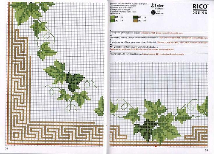 Cross Stitch Greek Key and Ivy Pattern