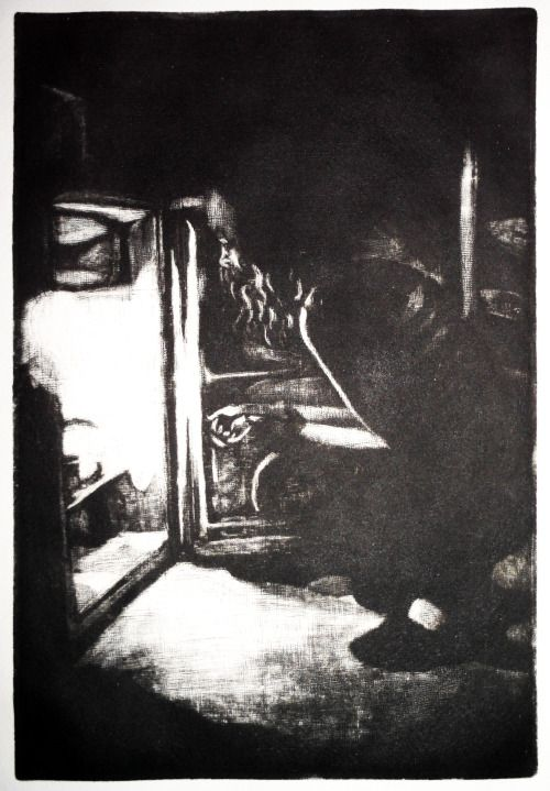 Laura Kozma: AT DAWN (mezzotint) ...because my housemate do this every night and dawn