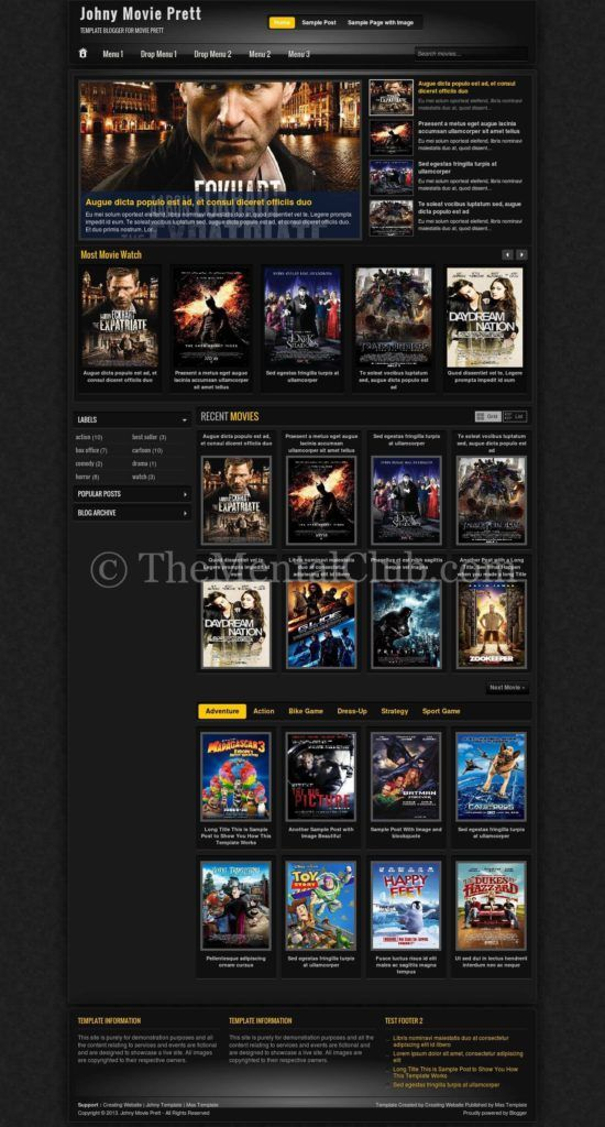 download blogger template for movie website responsive template for