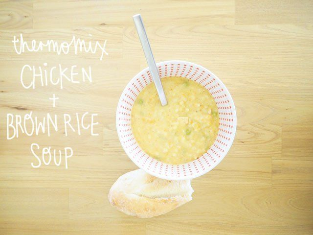 In the Thermomix: Quirky Cooking's Creamy Chicken & Brown Rice Soup - Fat Mum Slim