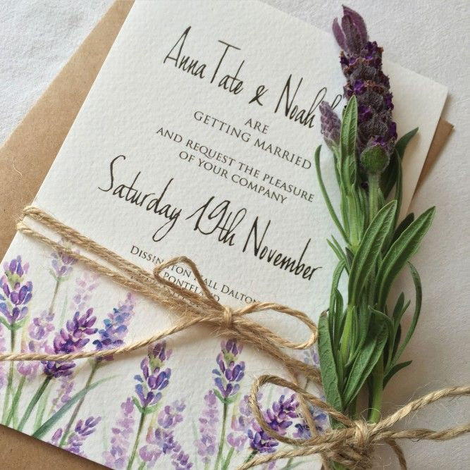 This pretty purple Lavender Watercolour wedding set is printed on mottled cream card designed by Top Table Design. Tied with twine and supplied with brown rustic craft envelopes it gives this stationery set a really shabby chic but delicate beautiful feel.