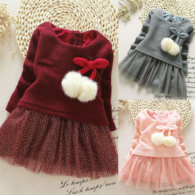 Casual style long sleeve lovely little girl design dress 2016 New Arrive Autumn children clothing