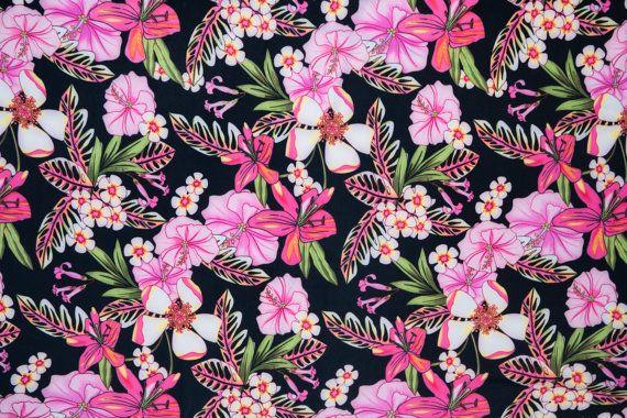 Multi-Color tropische bloemen Print 475 4-weg door FabricsUniverse