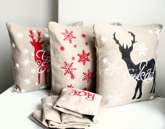 God Jul Deer Christmas Pillow 23 USD