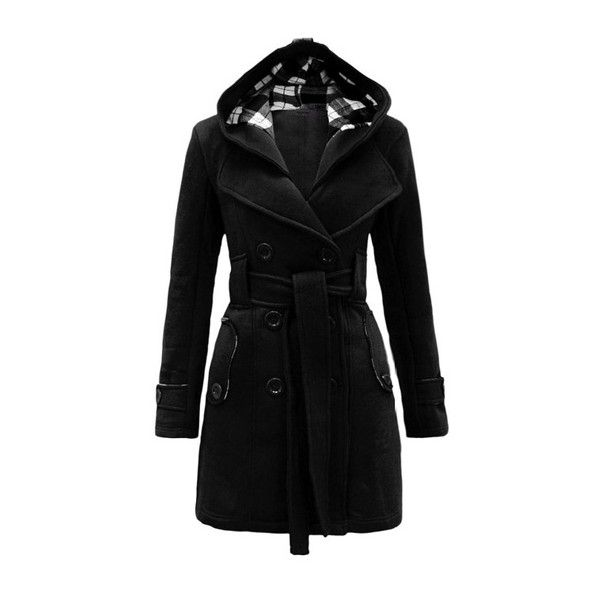Rotita Hooded Collar Double Breasted Black Coat ($41) ❤ liked on Polyvore  featuring outerwear - Best 25+ Long Winter Coats Ideas On Pinterest Winter Coat, Nude