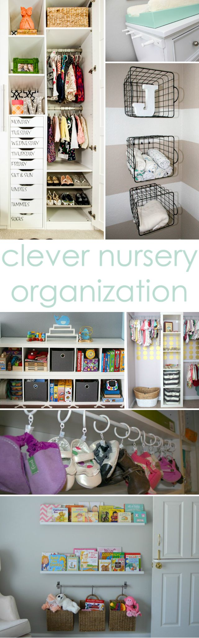 Clever Nursery Organization Ideas from Project Nursery - love the idea of baskets hung from the wall next to the changing table! #nursery #organization: Organizations Ideas, Projects Nurseries, Wire Baskets, Changing Tables, Organization Ideas, Baskets Hung, Nurseries Organizations, Kids Rooms, Clever Nurseries