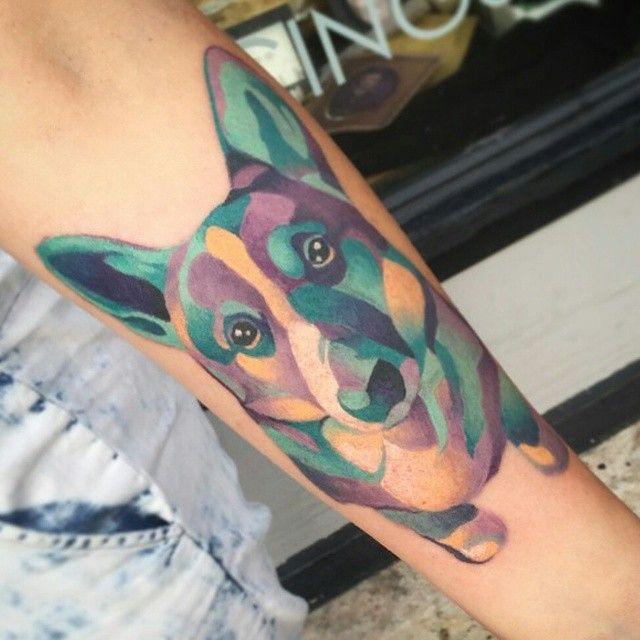 Corgi by @alisonrebertattoo #tattoo #tattoos #corgi #corgitattoo #pettattoo #dogtattoo #geometric #geometrictattoo #watercolor #watercolortattoo #colortattoo #girlswithtattoos #pups #shortnorthtattoo #614 #asseenincolumbus #socolumbus #columbustattooers