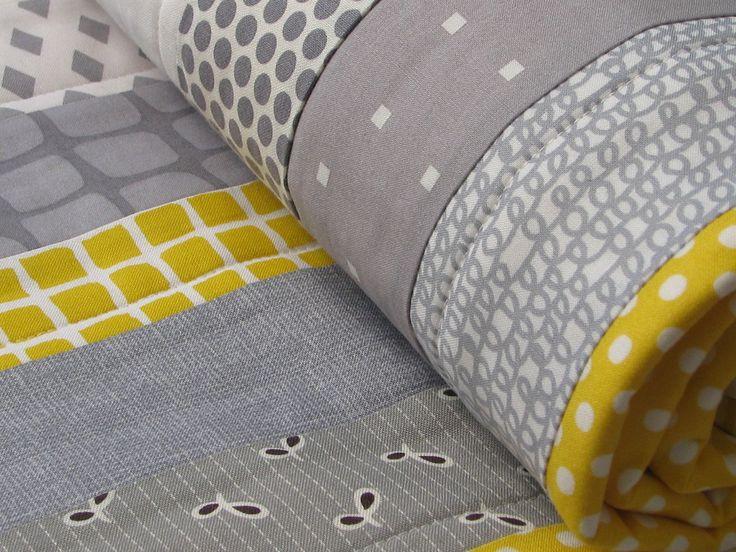 quilt cot crib baby nursery handmade grey yellow modern boy girl gift decor. $115.00, via Etsy.