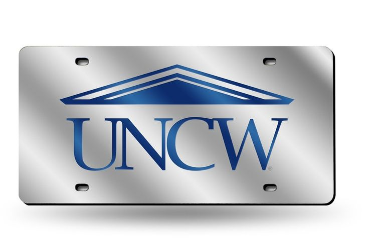 Unc Wilmington Seahawks Silver Laser Etched License Plate