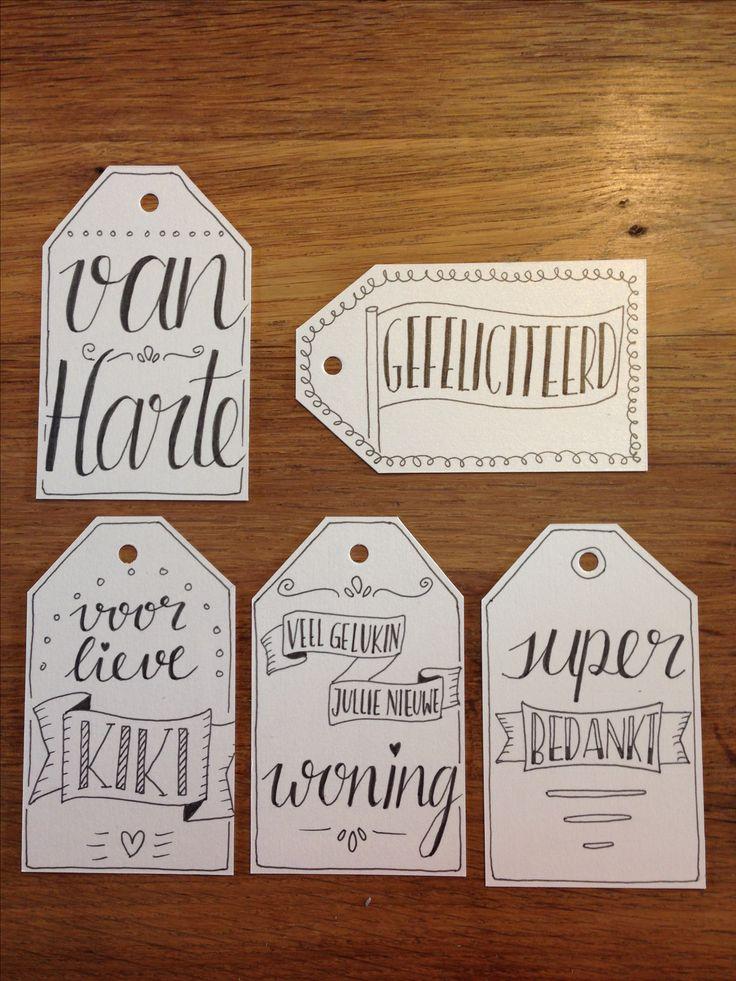 Handlettering, diverse cadeaulabels / kadolabels