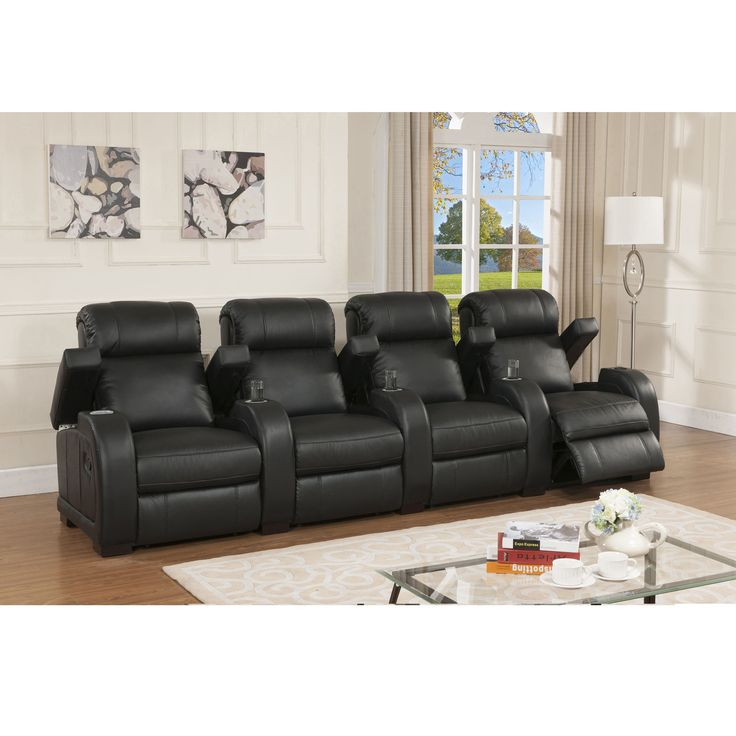 black leather living room furniture sets%0A Relax in comfort and style with this ultrapremium reclining home theater  seating set