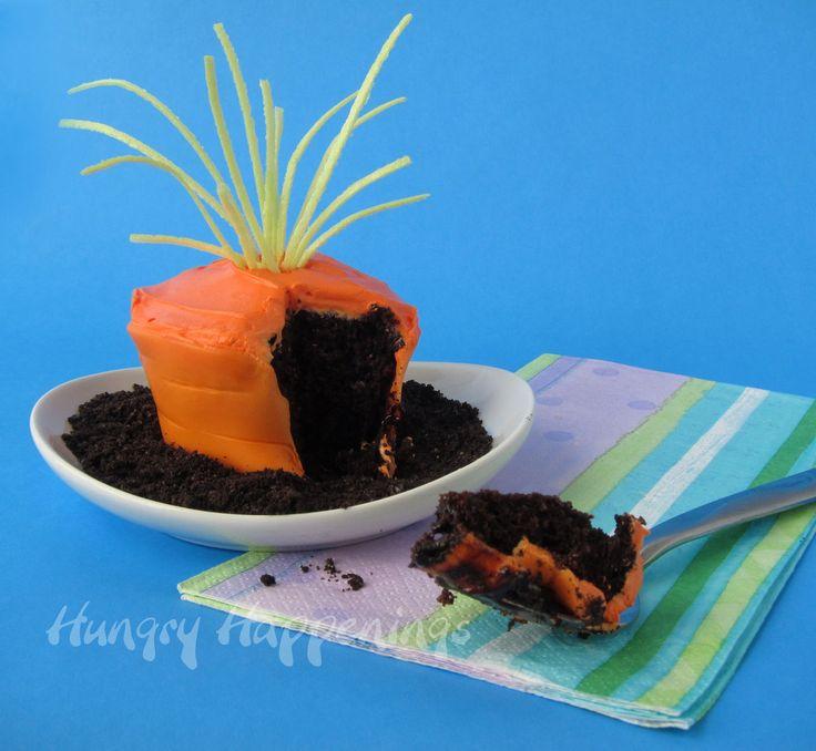 """CUPCAKES """"ZANAHORIA"""" (How to make edible cupcake wrappers to make Carrot Top Cupcakes) #RecetasDePascua"""