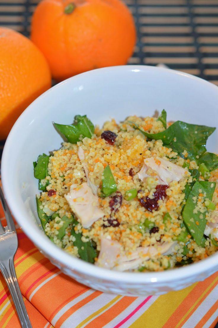 salade de couscous à l'orange aux canneberges et au poulet