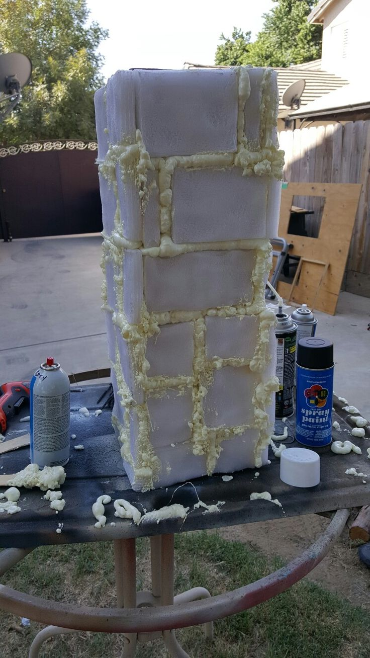 DIY INSULATION FOAM FROM HARDWARE STORE 2x4 2 needed for 4 foot high, insulation spray foam and polyethylene foam cut into strips various sizes., gorilla glue your walks into four sides cut to size if needed. Screw all sides with screws lying around to secure stronger. Then melt polyethylene with torch I used a mini. Careful will flame if used to closely have water handy.  Then spray foam wait to dry sand or just break away excess.