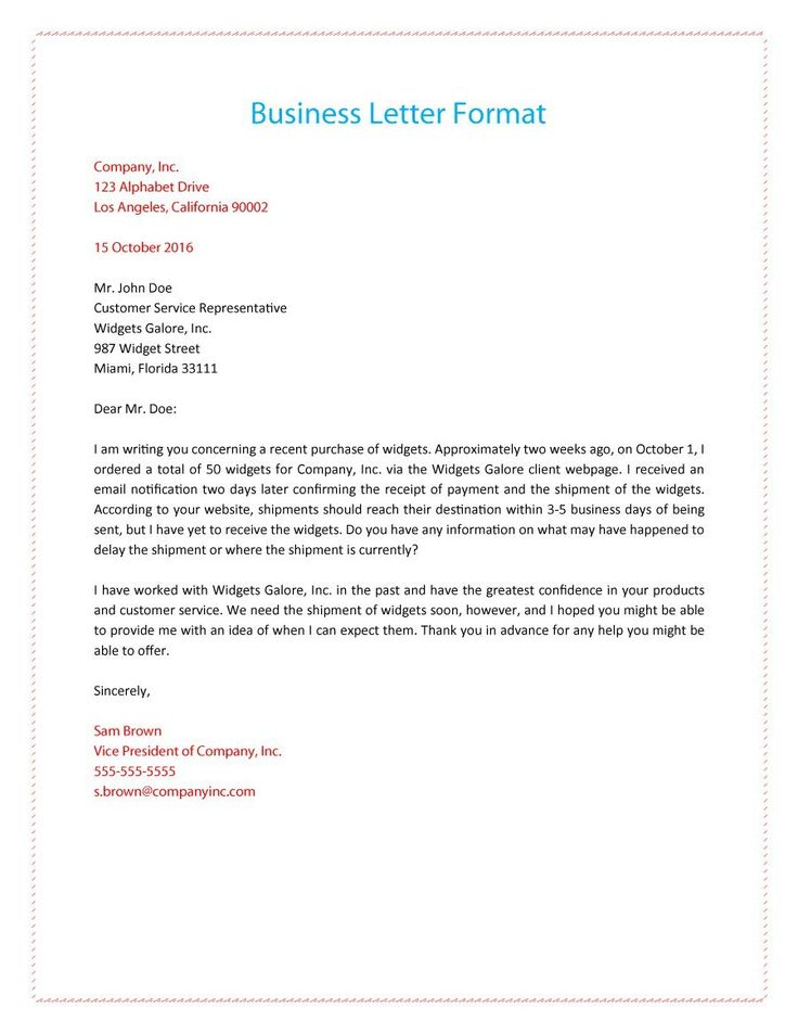 Official Business Letter Format Formal Business Letter Template