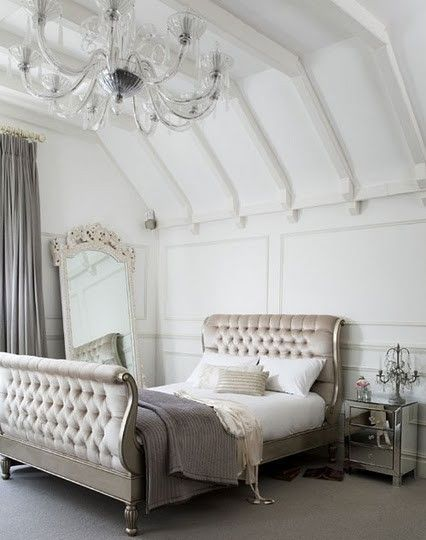 Bedroom inspiration silver white mirror gray via the for Bedroom ideas silver