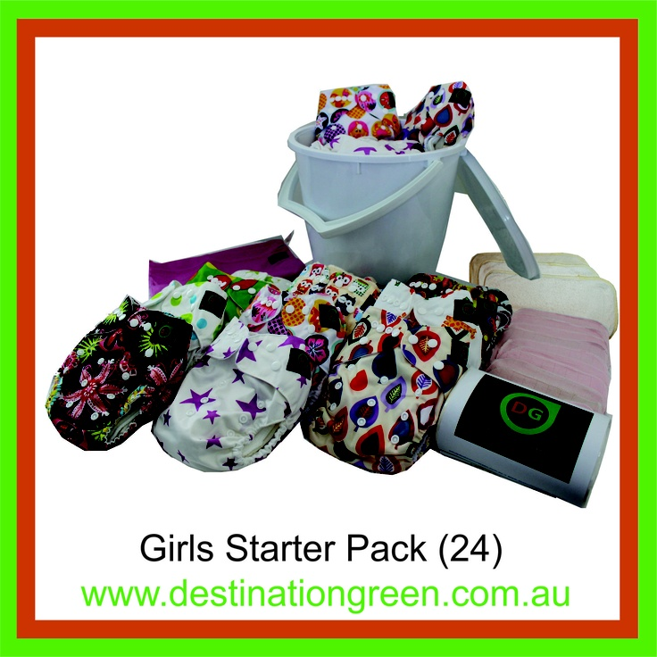 Girls' Starter Pack - includes 24 reusable nappies, $270.00