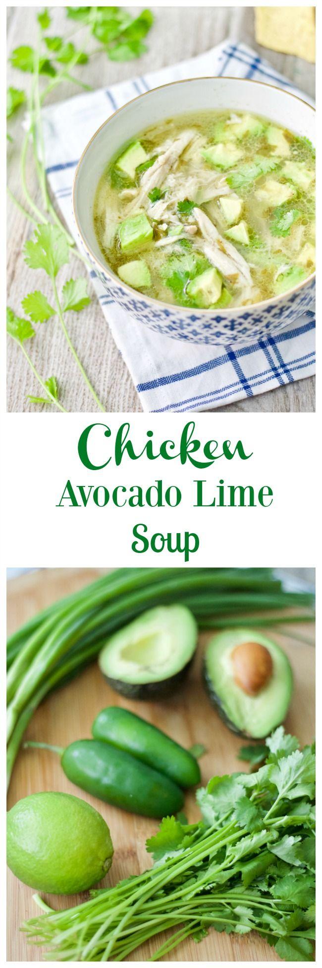 Chicken Avocado Lime Soup.  Gluten Free. Dairy Free. Soy Free. Keto Soup.
