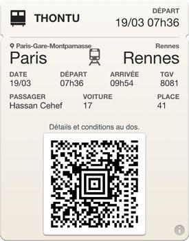 Billets de train SNCF sur PassBook