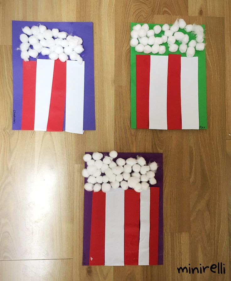 Who doesn't love a big tub of popcorn when they go to the movies! My kids had great fun creating their own popcorn! You may need: White cotton balls Assorted construction paper (background) R…