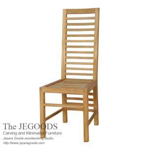 New Balero chair natural finish minimalist dining chair made of teak Jepara Indonesia. Buy teak furniture at factory price by Jegoods Woodworking.