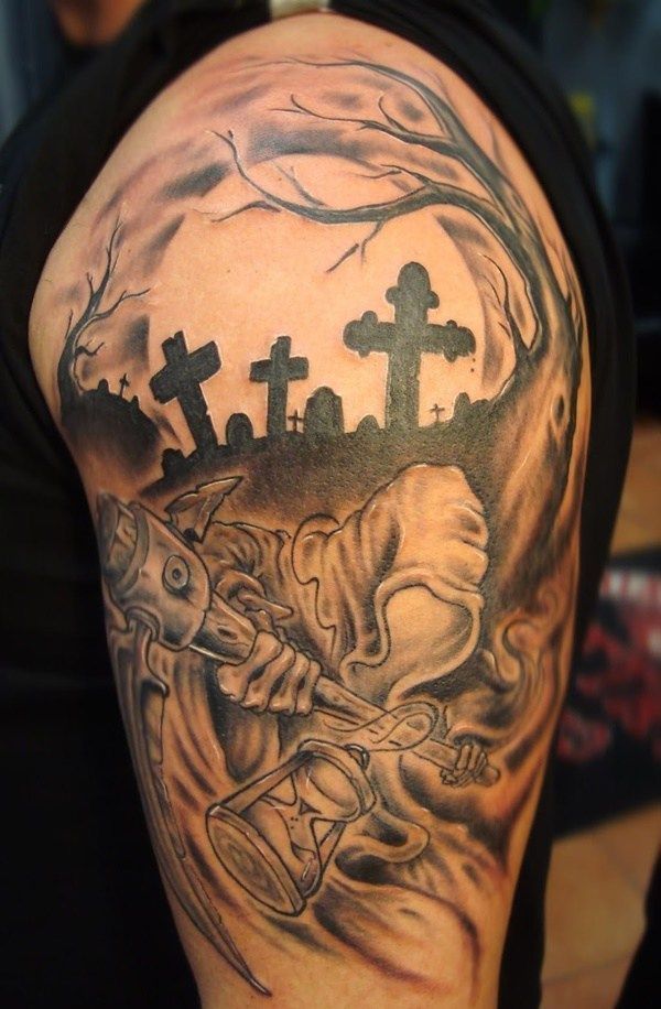 Arm Tattoo Designs Grim Reaper Always Seems To Be Busy Filling Graves Tattoosformen Tombstone Tattoo Best Sleeve Tattoos Tattoo Sleeve Men