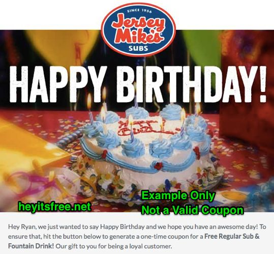 Whoa, Jersey Mike's Birthday Freebie coupon is valid for an entire year! :: http://www.heyitsfree.net/jersey-mikes-birthday-freebie/