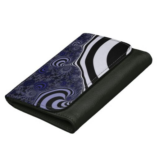 Blue and black striped fractal. wallet for women #wallets, #customized, personalized, artwork, buy, sale, #giftideas, #zazzle, shop, discount, deals, gifts, shopping, abstract, antenna, art, artwork, bee, black, #blue, bright, cold colors, computer, cool colors, duotone, #fractal, fractal art, fractal artwork, generated, illustration, julia, light, locator, mandelbrot, pattern, paw, square, striped, suction, white, strip, dark, funny strips, modern