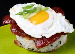 "Who can resist a link titled ""Sausage Recipes of the Month""?! This is a great take on east-west. A breakfast of lup cheong & eggs on rice cakes anyone?"