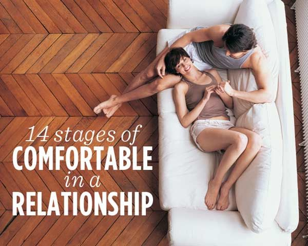 14 Stages of Comfortable in a Relationship  -- We've been together for almost ten years and have never used each other's toothbrushes. That's just not going to happen, lol. I'll go without brushing my teeth before I use anybody else's brush.