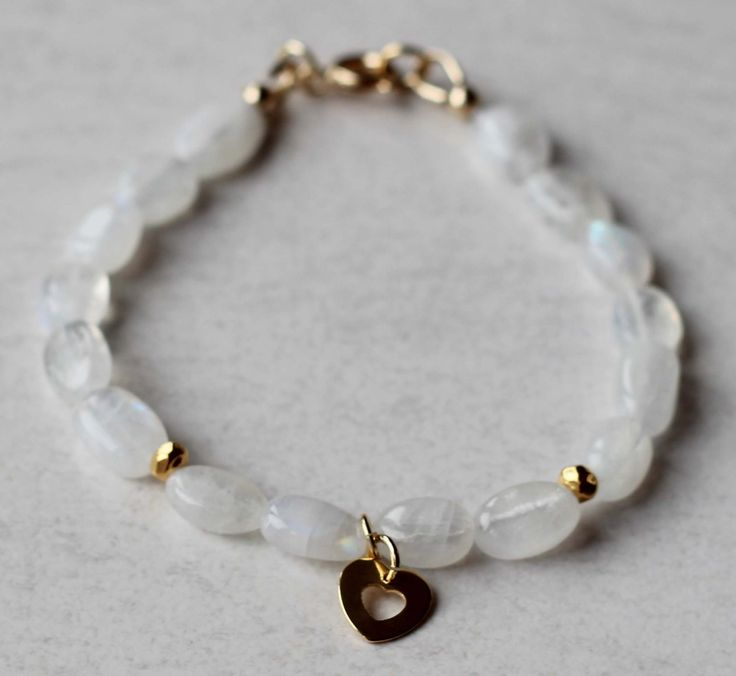 Girl's Bracelet Moonstone Gemstones with Gold Vermeil Beads and a Gold Filled Charm. Communion Bracelet. Birthstone Bracelet by ILgemstones on Etsy