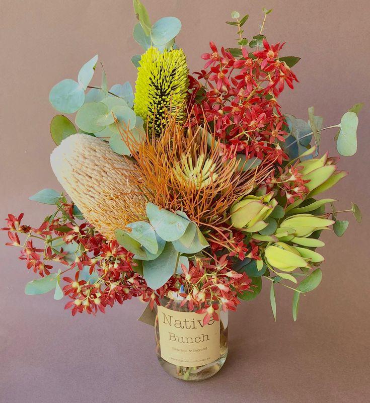 Native flower Posy jar 30 Banksias, Christmas bush, Aulax