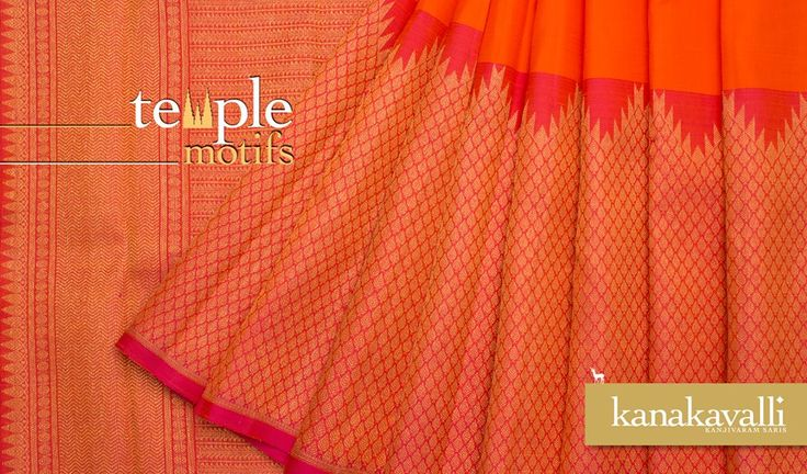The gopuram is most recognised aspect of South Indian temple architecture. The majestic gopuram comes alive in this splendid orange and gold blend. Pay a tribute to the legendary temples of Tamil Nadu from the ancient lands of yore with this delightful Temple Motif sari!