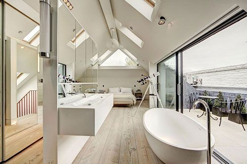 Lichte zolder slaapkamer badkamer suite slaapkamer met badkamer slaapkamer idee n slaapkamer - Deco master suite met badkamer ...