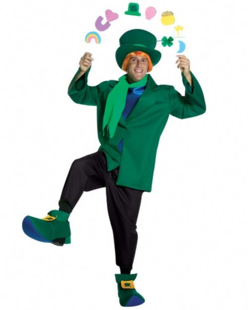 Lucky Charms Mens Leprechaun Costume - This is the Lucky Charms costume and it's a hoot. This fun and funny costume comes with a dark green foam-like material hat with attached four leaf clover and lighter green band. There is a dark green jacket with attached blue mock shirt, black pants, light green foam-like material scarf and hilariously pointy foam shoes covers with gold foam buckle attached. #luckycharms #ireland #yyc #calgary #costume #mens